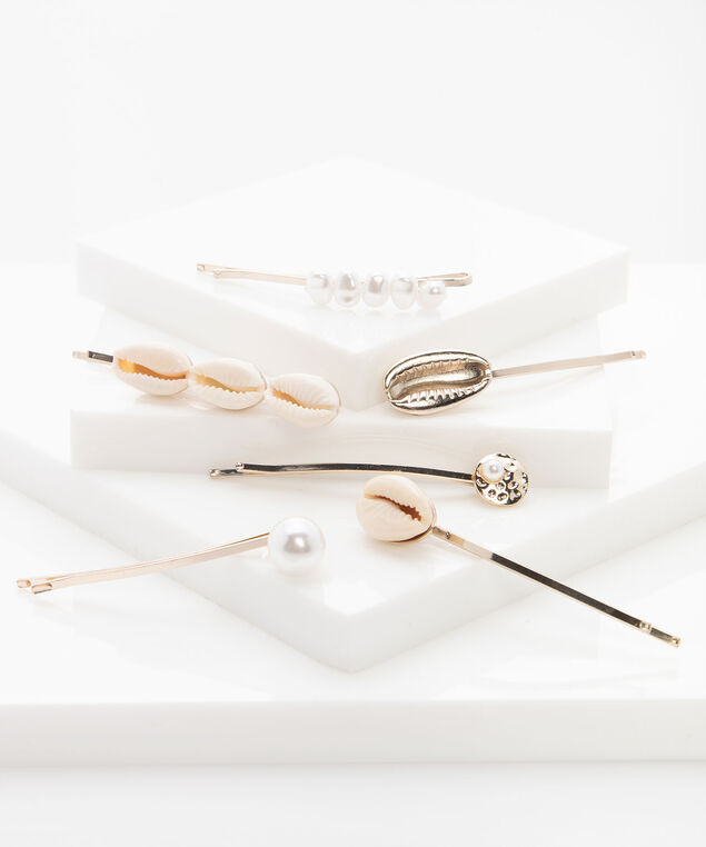 Shell & Pearl Bobby Pin Set, Pearl/Gold, hi-res