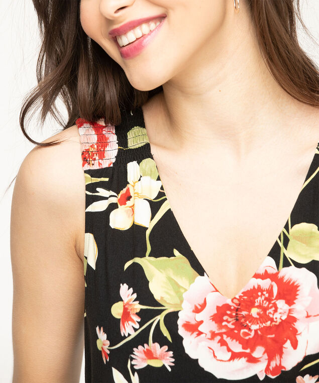 Eco-Friendly Sleeveless V-neck Top, Black/Poppy Red Floral
