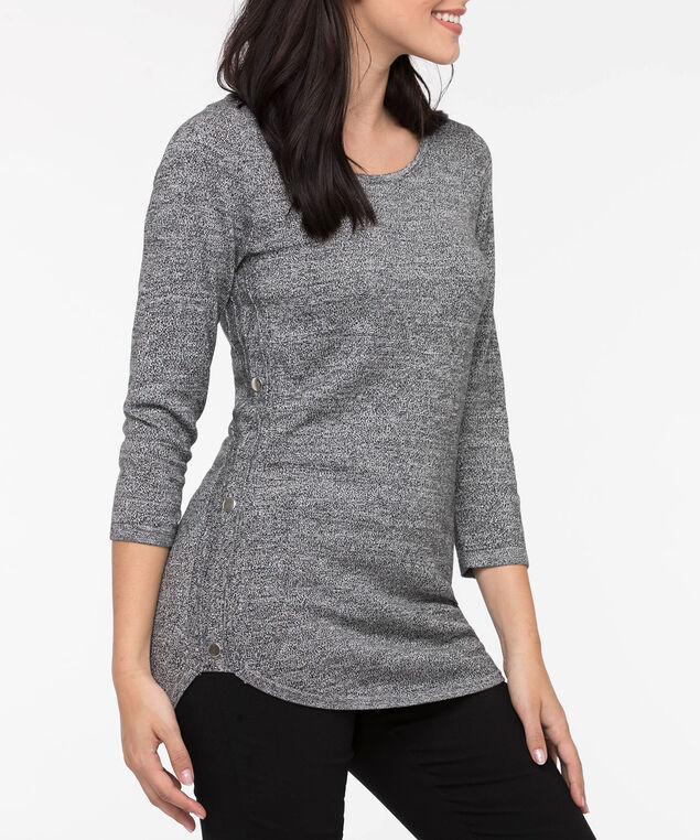 Button Trim Rounded Hem Pullover, Black Mix, hi-res