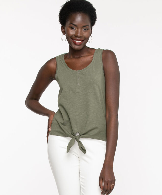 Sleeveless Henley Tie Front Top, Thyme