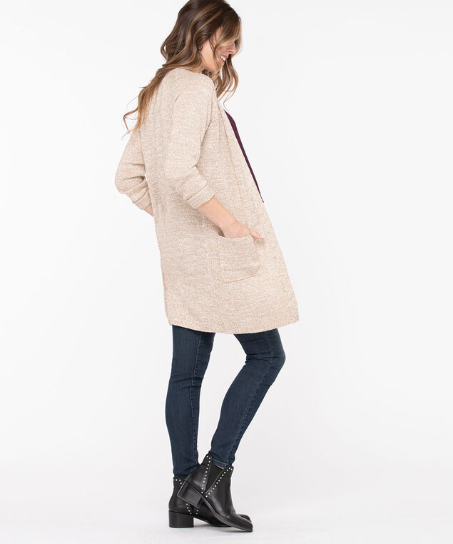Longline Open Cocoon Cardigan, Heathered Camel