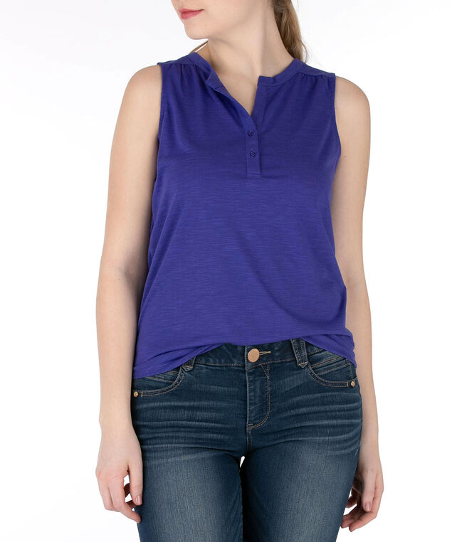 Sleeveless Henley Tee, Violet, hi-res