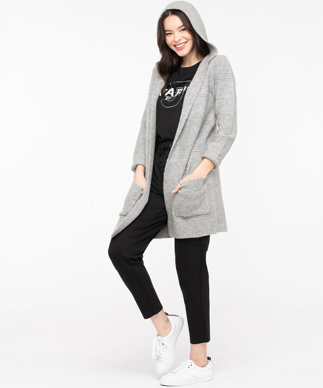 Pointelle Hooded Open Cardigan, Light Grey, hi-res