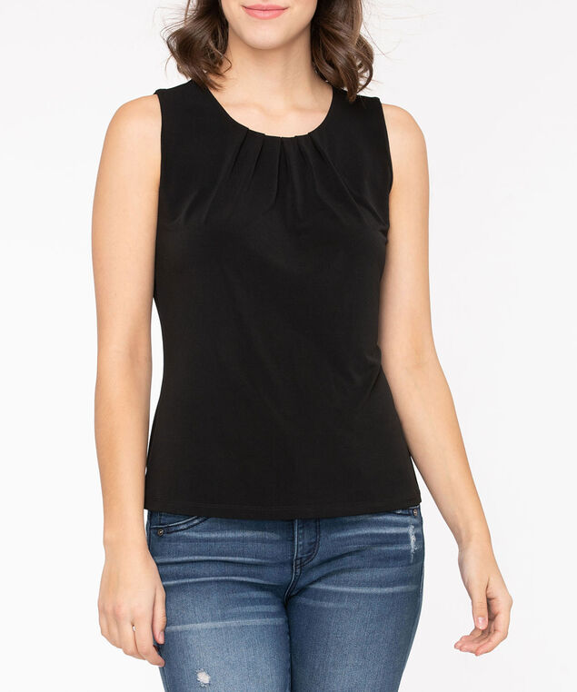 Sleeveless Pleat Neck Top, Black, hi-res