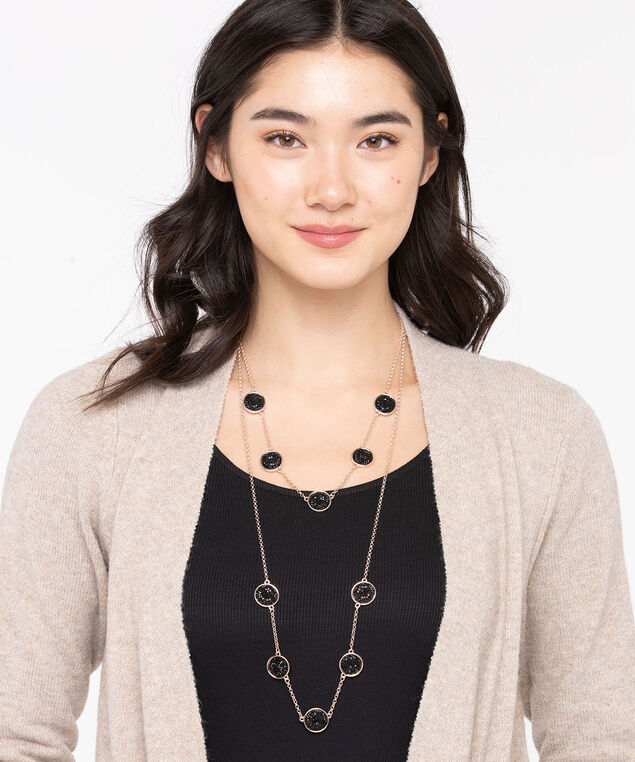 Black Glitz Stationed Layered Necklace, Rose Gold/Black