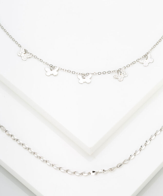 Delicate Butterfly Layered Necklace, Rhodium, hi-res