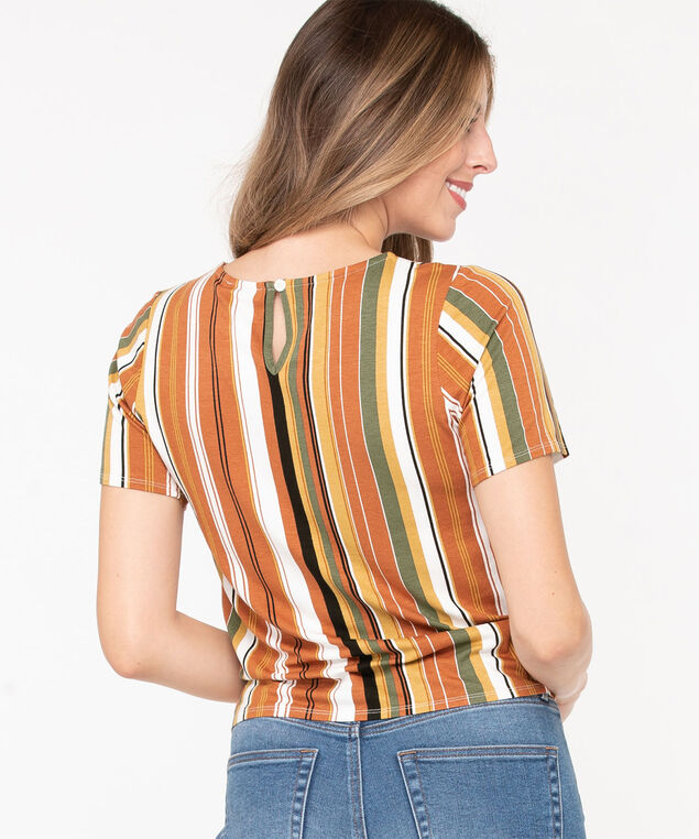 Short Sleeve Tie Waist Top, Rust/Sage/Pearl/Black, hi-res
