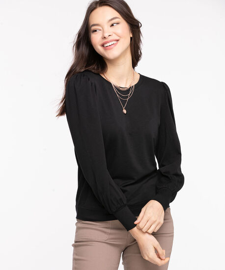 Puff Sleeve Pullover Knit Top, Black, hi-res