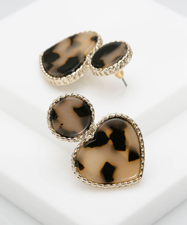 Resin Heart Earring, Gold/Espresso, hi-res