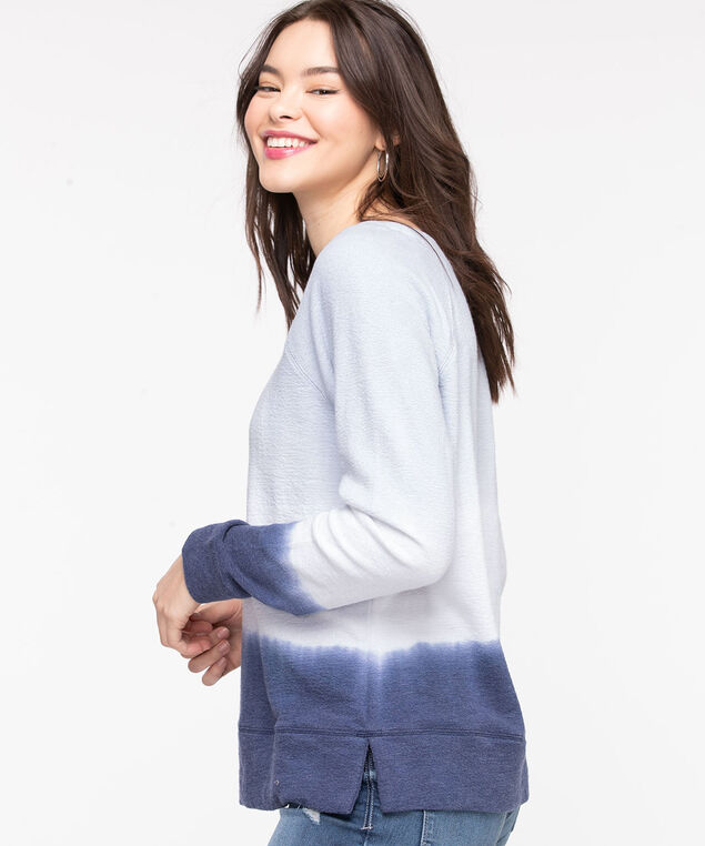 Dip Dye Sweat Shirt, Soft Blue/White/Navy