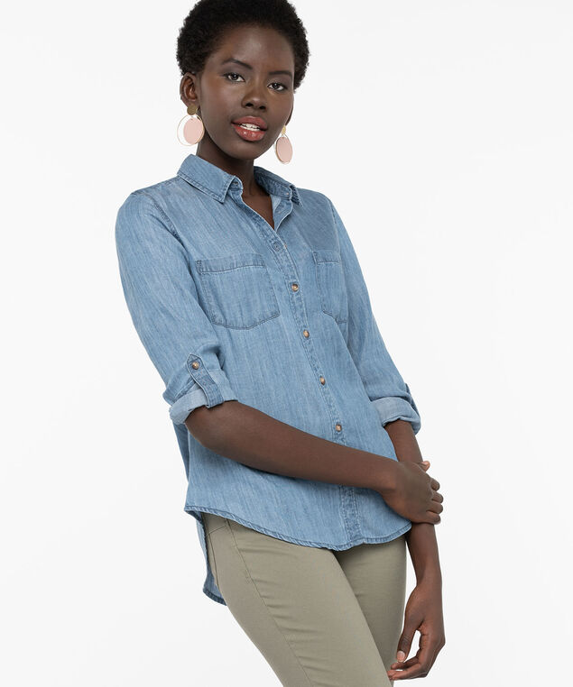 Collared Button Down Denim Shirt, Light Wash, hi-res