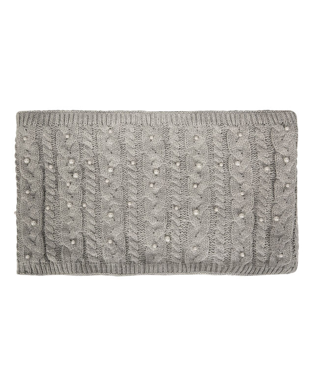 Chunky Cable & Faux Fur Snood, Grey/White, hi-res