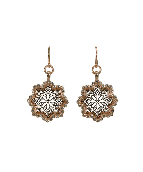 Filigree & Crystal Earring, Clear/Rose Gold, hi-res