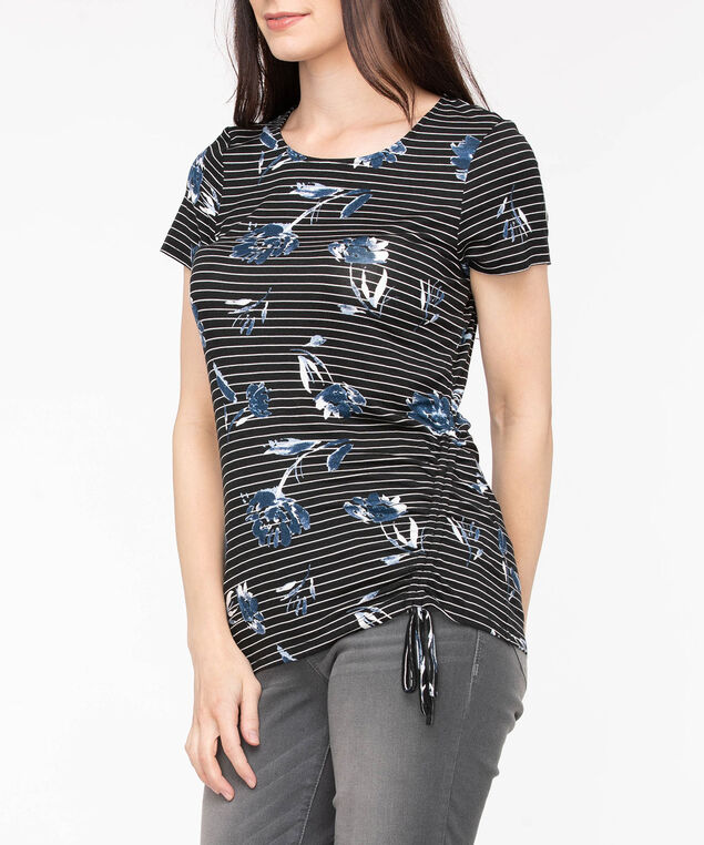 Side Ruched Short Sleeve Top, Black/Pearl/Midnight Blue, hi-res