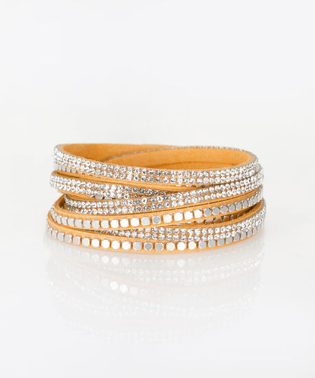 Yellow Faux-Suede Wrap Bracelet, Yellow/Clear/Rhodium, hi-res
