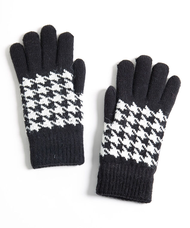 Houndstooth Chenille Lined Gloves, Black/Pearl, hi-res