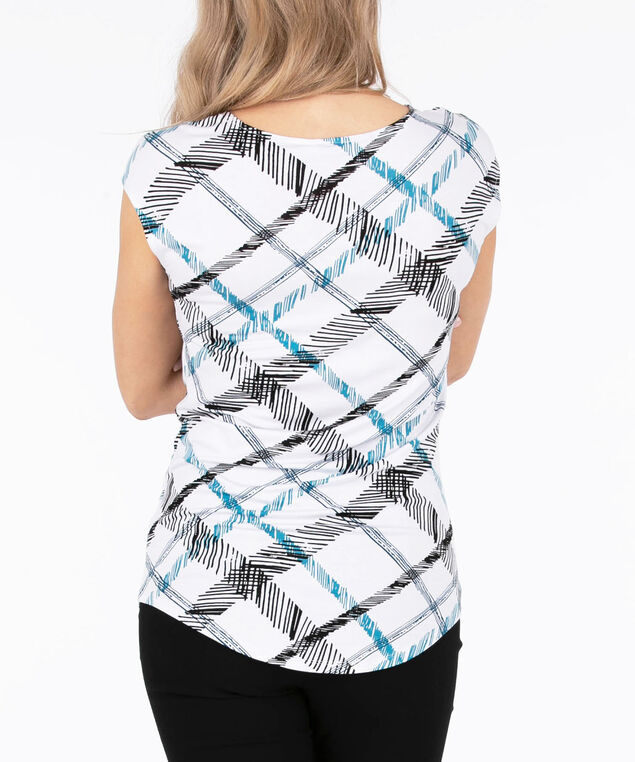 Cross Front Extended Sleeve Top, White/Black/Teal, hi-res