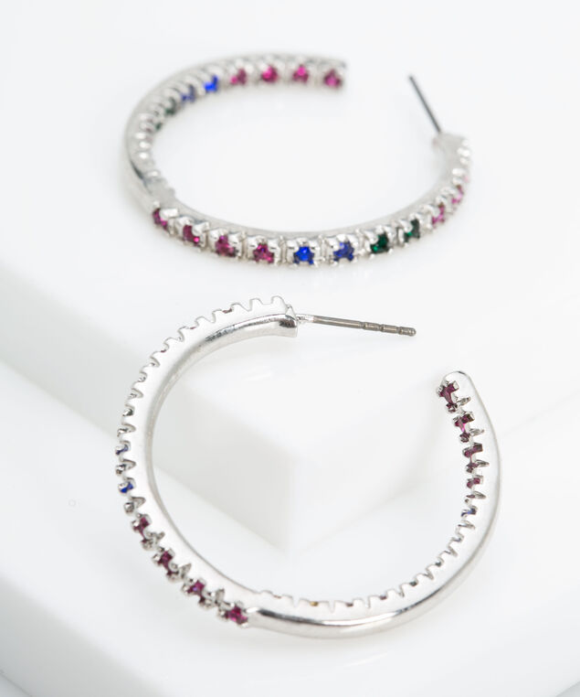 Multi Colour Crystal Hoop Earring, Bright Pink/Deep Sapphire, hi-res