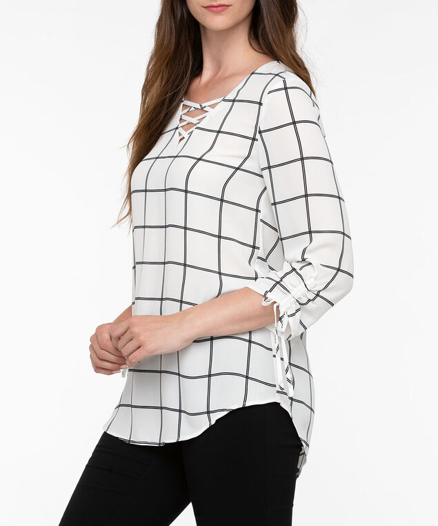 Criss Cross Neck Blouse, Pearl/Black, hi-res