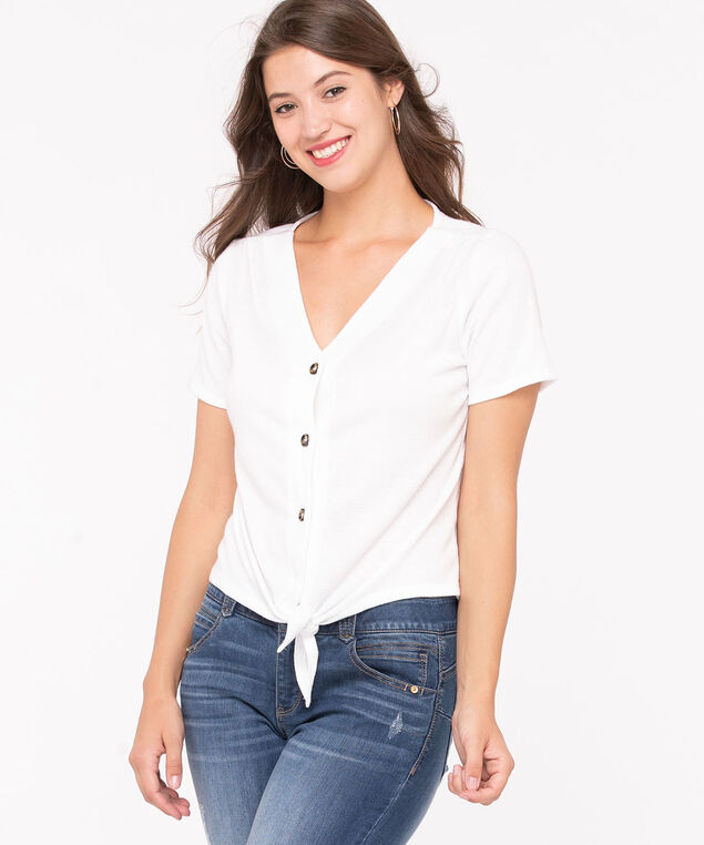 Button Front Tie Waist Top, Pearl, hi-res