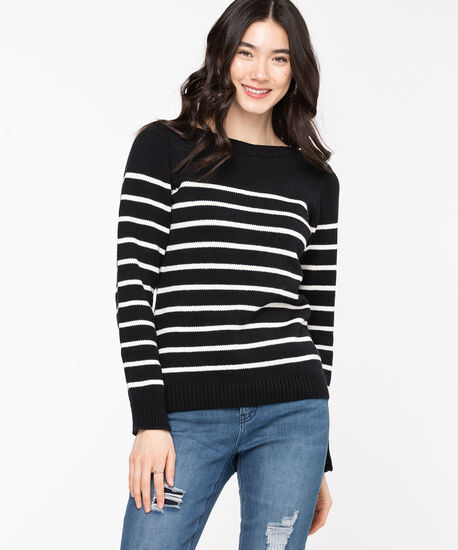 Striped Boat Neck Sweater, Black/White, hi-res