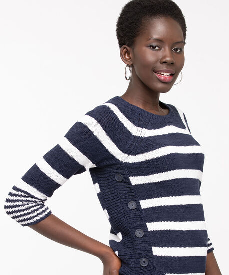 Striped Curve Hem Pullover Sweater, Summer Navy/Pearl, hi-res