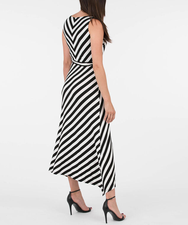 Sleeveless Mitered Stripe V-Neck Dress, Pearl/Black, hi-res