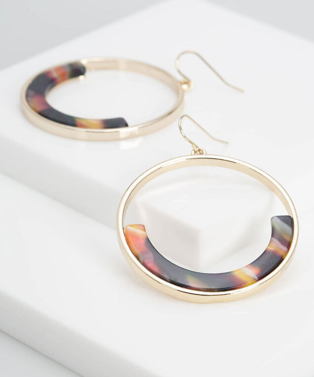Semi Circle Resin Earring, Gold/Marigold/Black, hi-res