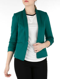 Knit Notch Collar Open Blazer