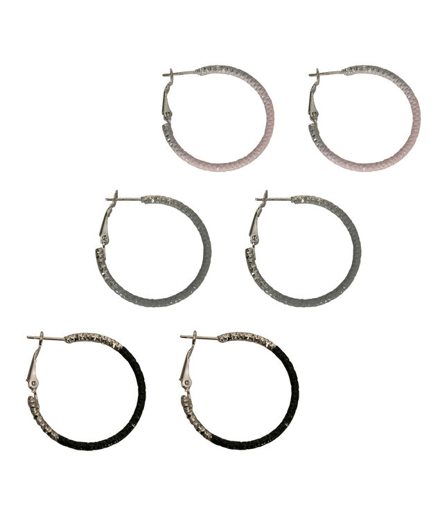 Painted Hoop Earring Set, Pink/Grey/Black/Rhodium, hi-res