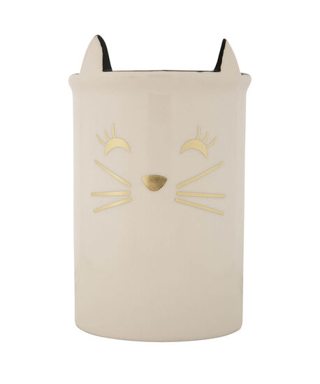 Kitten Face Decorative Holder Cup, White/Gold/Black, hi-res
