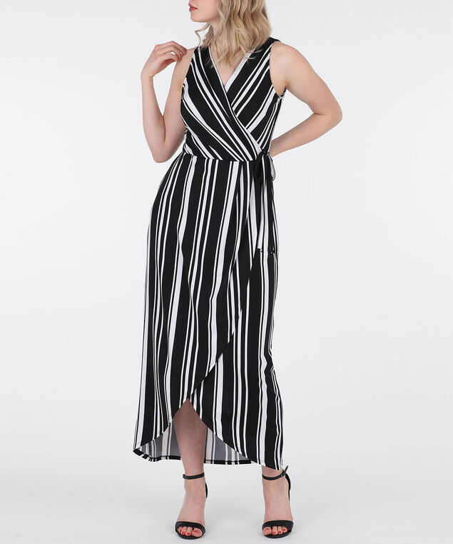 Striped Faux Wrap High-Low Dress, Black/Pearl, hi-res