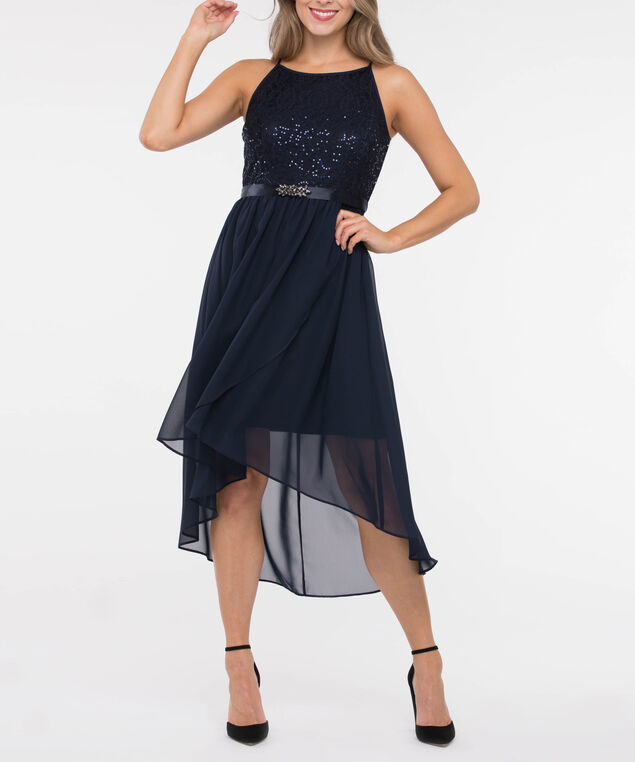Sleeveless Lace Chiffon High-Low Dress, Navy, hi-res