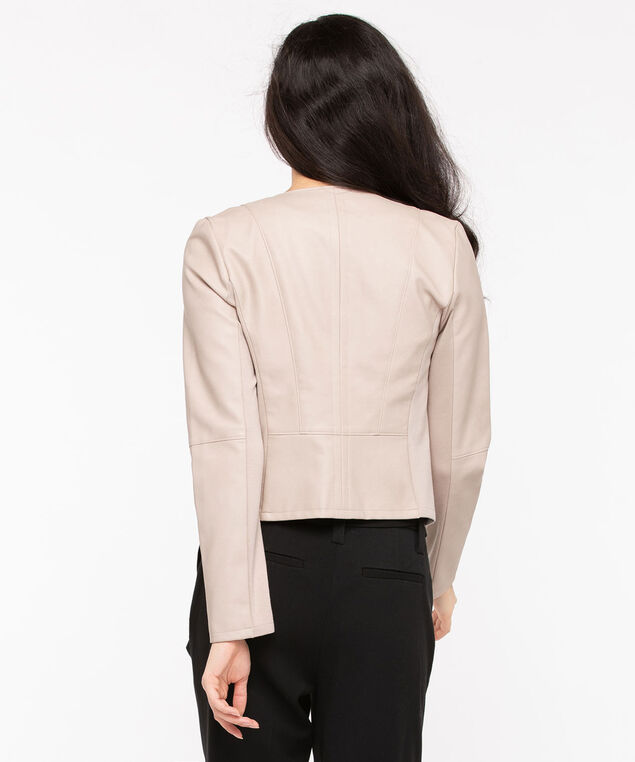 Faux Leather Open Front Blazer, Stone, hi-res
