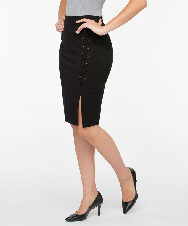 Lace-Up Ponte Pencil Skirt, Black, hi-res