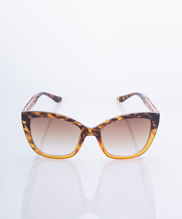 Tortoise & Chain Link Sunglasses, Brown/Rose Gold, hi-res