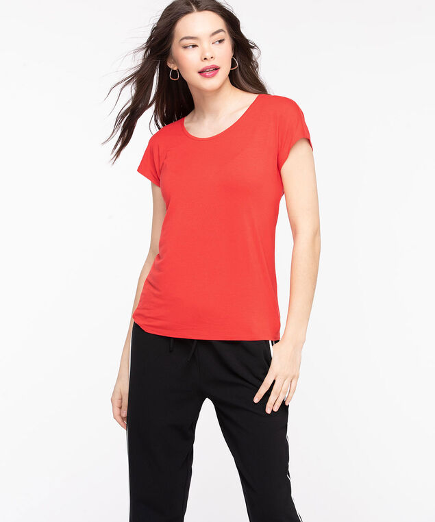 Extended Sleeve Layering Essential Tee, Poppy Red