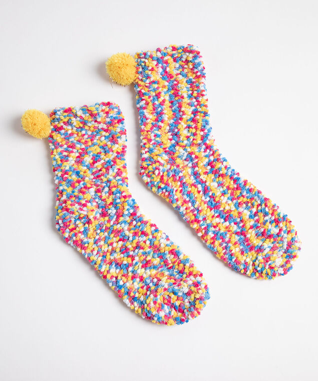 Plush Popcorn Pom Pom Socks, Yellow/Pink/Blue Mix