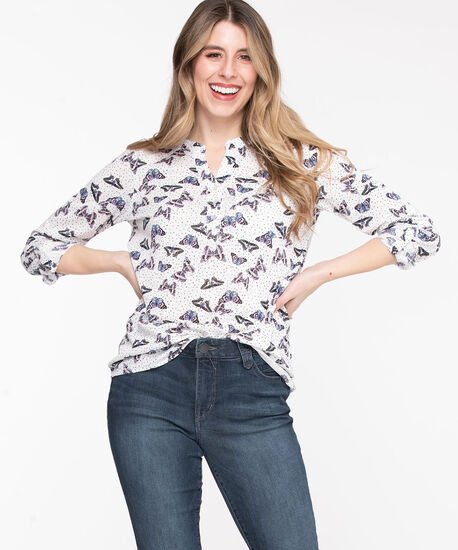 Henley Roll Sleeve Tunic Top, Pristine/Black Butterflies, hi-res