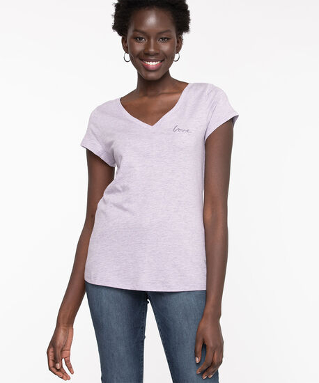 V-Neck Embroidered Graphic Tee, Orchid Petal Love, hi-res