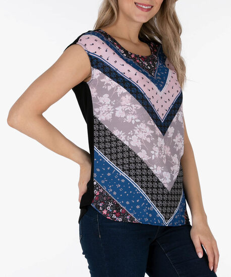 Extended Sleeve Mixed Media Top, Black/Coral/Blue, hi-res