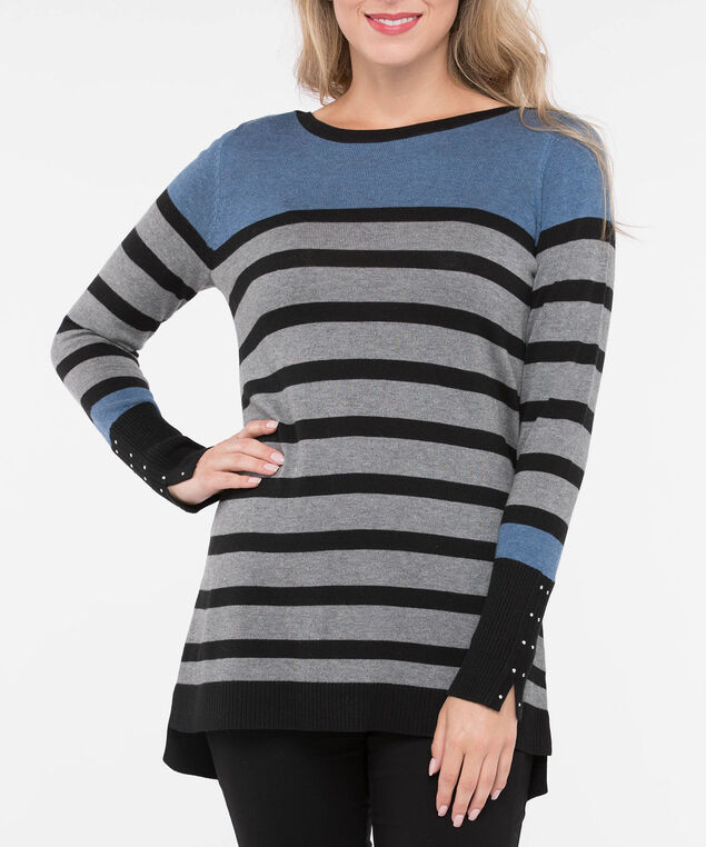 Stud Trim Step Hem Sweater, Black/Steel Blue/Grey, hi-res