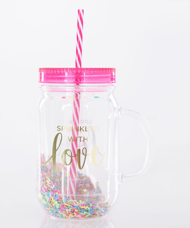 Sprinkled With Love Mason Jar With Straw, Pink/Yellow/Gold, hi-res