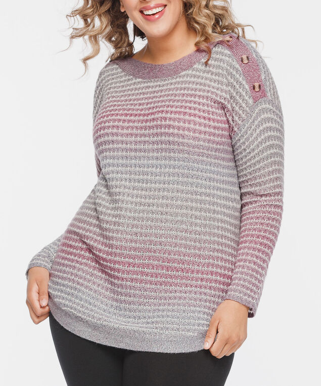 Button Boatneck Ombre Sweater, Dusty Blush/Pearl, hi-res