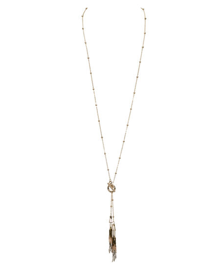 Seed Bead Tassel Y-Necklace, White/Grey/Soft Gold, hi-res
