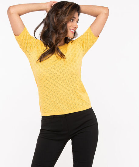 Short Sleeve Pointelle Sweater, Gold, hi-res