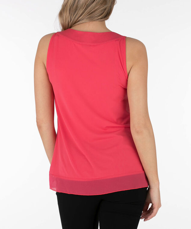 Chiffon Trim Pleat Front Overlay Top, Watermelon, hi-res