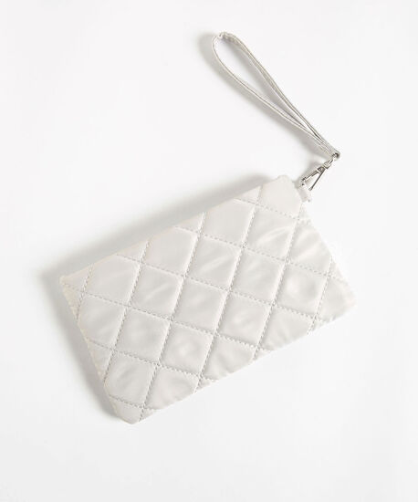 Quilted Everyday Essential Pouch, Light Grey, hi-res
