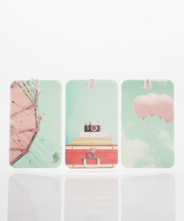 Balloons Luggage Tag Set, Sea Foam/Rose Petal, hi-res