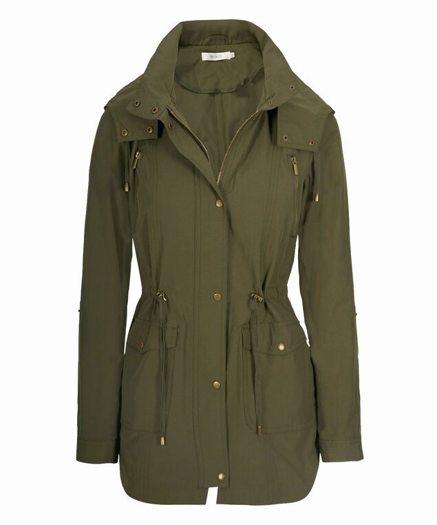 Hooded Cotton Anorak, Olive, hi-res